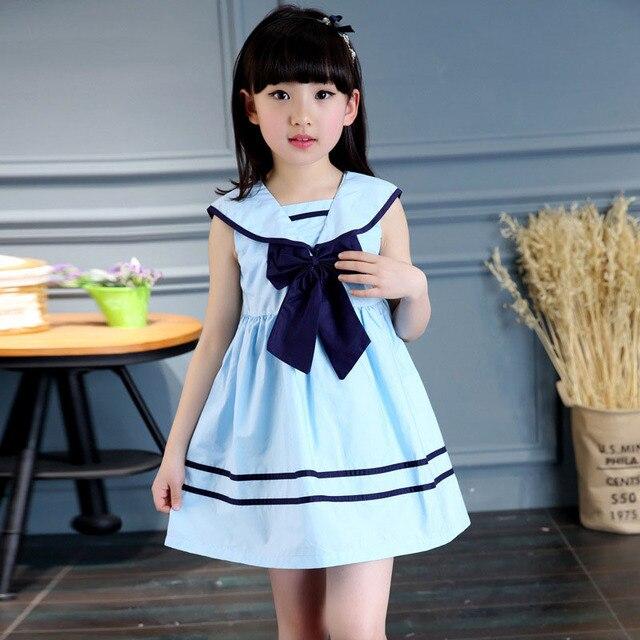 אופנה ילדי בנות Bowknot סיילור שמלה ללא שרוולים כותנה קיץ ילדים בנות אונליין שמלות בגדי M09
