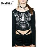 1 Piece Cotton Women S Summer Style Black T Shirt Woman S Harajuku Punk Crop Full