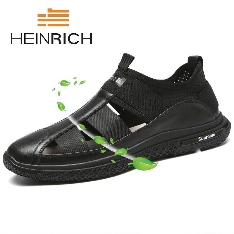 De Preto Roma Macio Sapatos Masculinos Confortáveis Respiráveis deslizamento Heinrich Planas Alta Verão Couro Fundo Qualidade Não Sandálias Homens Genuíno HxYqUfn
