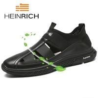 HEINRICH High Quality Rome Summer Men Genuine Leather Sandals Flat Non Slip Comfortable Breathable Sandals Soft Bottom Men Shoes