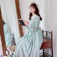 Зима Осень светло зеленый плед шерстяное платье женщина длинный рукав лодыжки длина Ретро плюс длинный толстый шерстяной с высокой талией