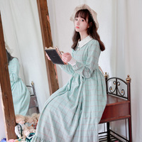 winter autumn light green plaid wool dress woman full sleeve ankle length retro plus long thick woolen high waisted dress