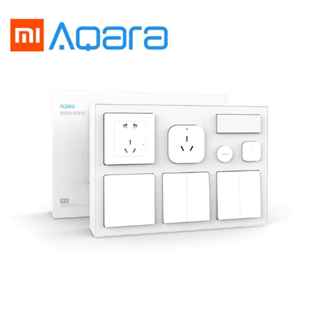 Xiaomi Aqara Air Conditioner Temperature And Humidity Sensor Body Sensor Wall Socket Wall Switch 2Pcs Wireless Switch Smart Kit temperature and humidity sensor protective shell sht10 protective sleeve sht20 flue cured tobacco high humidity