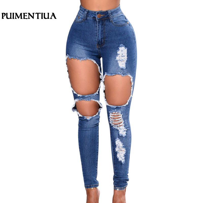 Puimentiua Women Skinny   Jeans   Hole Ripped Stretch Elastic Pencil Pants Push Up High Waist Denim   Jeans   Plus Size Mom Trousers