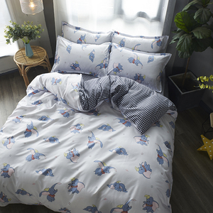 Image 5 - Cartoon Dumbo Bedding Sets girls kids Duvet Cover plaid Bed Sheet Pillowcase 3/4 pcs twin full queen king white quilt cover sets