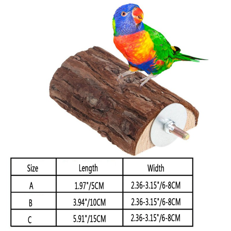 Long Wooden Bird Accessories Squirrel Parrot Bird Pet Stand Platform Hanging Toy Goods For Birds