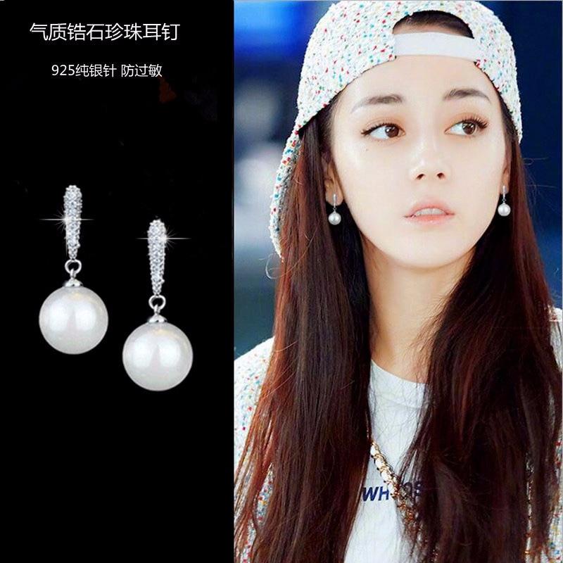 Sterling Silver Jewelry Earrings 925 Sterling Silver Crystal Pearl Stud Earrings Brincos Pendientes de plata