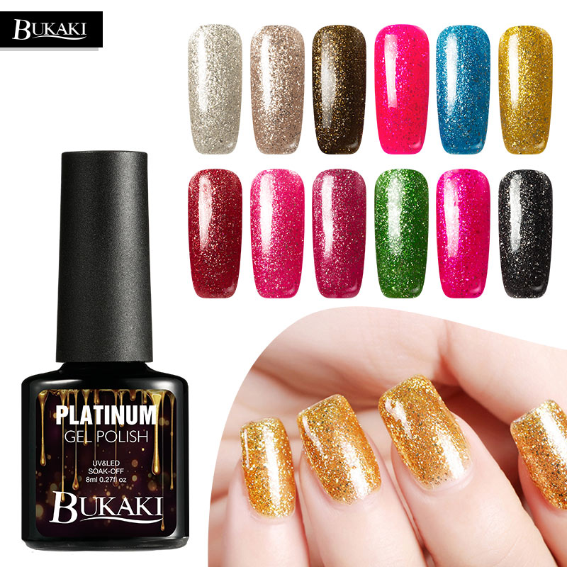 BUKAKI New Platinum Gel Super Shining Effect Nail Gel Perfect Soak Off UV&LED Gel Polish Easy Clean Top Base Coat Varnish
