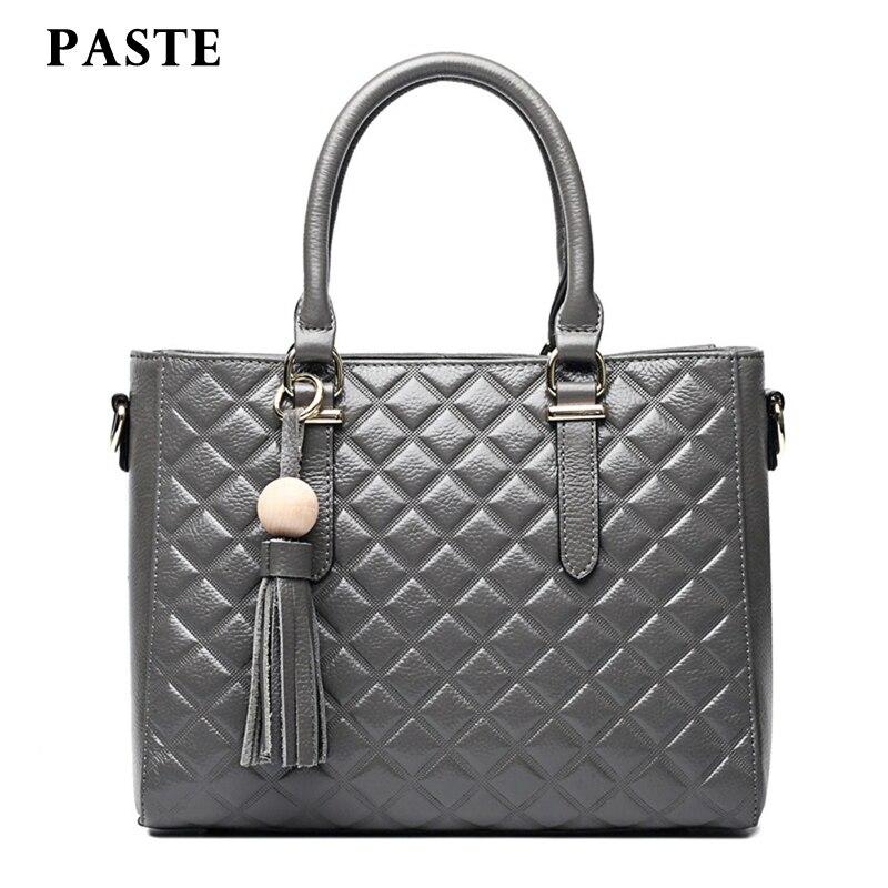 PASTE Luxury 100% Genuine Leather High Quality Handbag Women Bags Famous Designers Brand Gray Shoulder Messenger Bag Tassel Tote