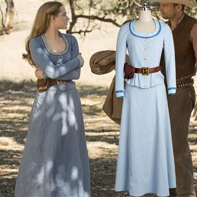 7667c9f6bd Westworld Costume Dolores Abernathy Cosplay Costume Blue Dress-in ...