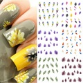 Trendy Nail Tip Decoration 1 Sheet Colorful Feather 3D Nail Art Water Decal Stickers HG-0481