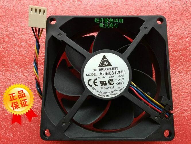 Wholesale Original AUB0812HH DC12V 80*80*25mm 0.32A Delta 8025 4-line Temperature Control CPU Case Cooling Fan