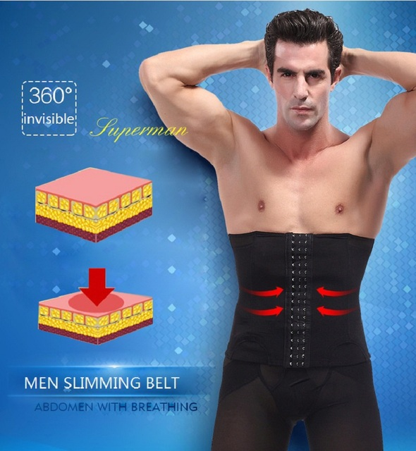 NINGMI Man Shapewear Waist Trainer Body Shaper Slimming Tummy Trimmer Fitness Belly Band Modeling Belt Breathable Corset Cincher 3