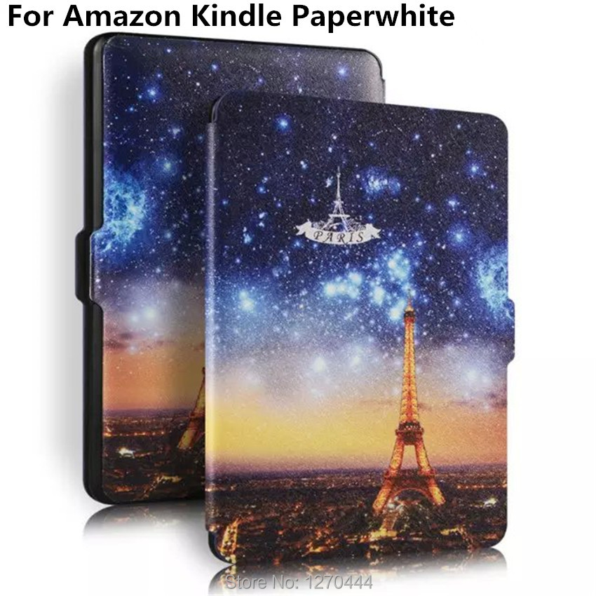 2015 New Ultra-slim colored drawing PU Leather Cover capa para for amazon Kindle Paperwhite Protection case Smart cover +pen+OTG pu leather ebook case for kindle paperwhite paper white 1 2 3 2015 ultra slim hard shell flip cover crazy horse lines wake sleep