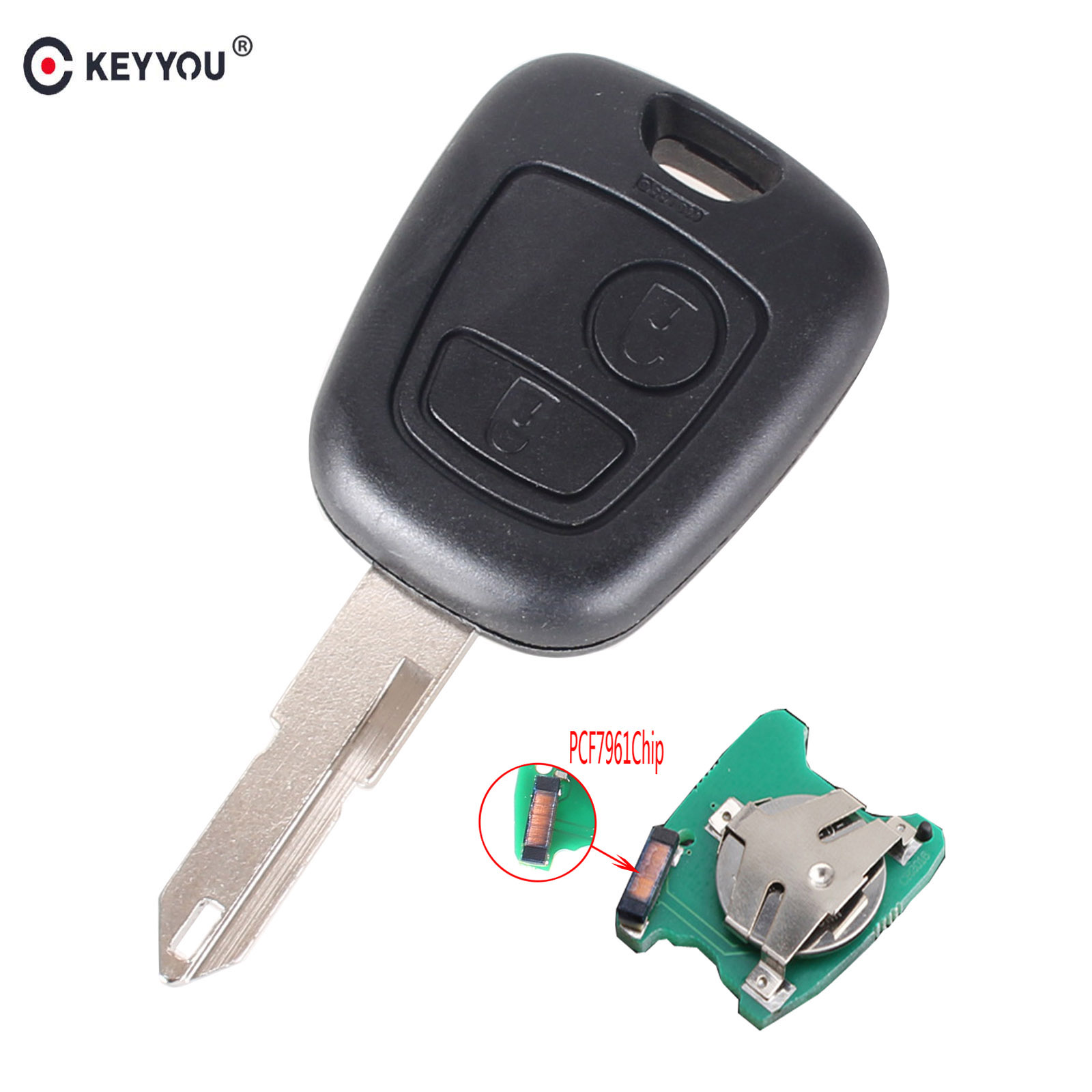 KEYYOU 2 Buttons ASK Remote Key Fob Controller For PEUGEOT 206 307 Partner Citroen C1 C3 433MHZ With PCF7961 Transponder Chip