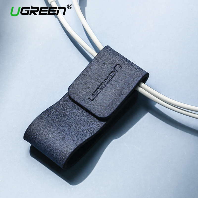 Ugreen Cable Organizer Leather Earphone Cable Winder for Earphones USB Cable Management AUX Line Clip Wire Holder Organizer vention 2018 new cable winder usb cable protector earphone cable organizer holder mouse wire holder clip cable management