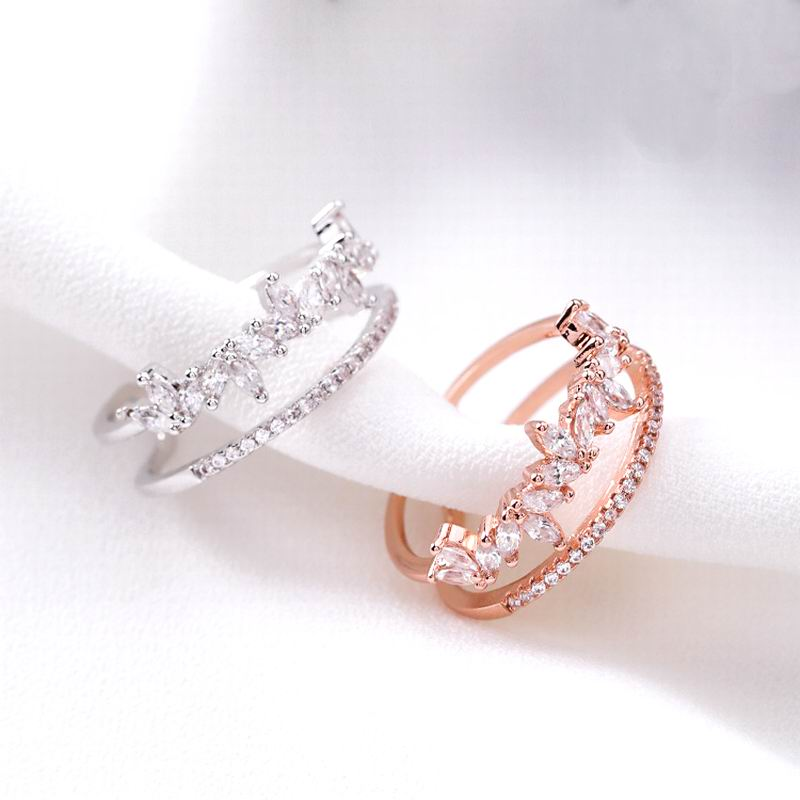 Micro Pave Zircon Double Layer Rings For Women Personality Rhinestone Open Ring Fashion Jewelry Adjustable Rose Gold-Color Bijou