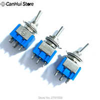5pcs Blue 6-Pin DPDT ON-OFF-ON Mini MTS-203 6A125VAC Miniature Toggle Switches Button switch Dialing Single Power switches 6P
