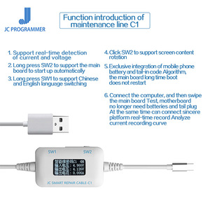 Image 4 - JC C1 Smart Repair Cable IP Current and Voltage Detector for IP 6 6s 7 8 8P X Motherboard Fault Charging Rooting Repair