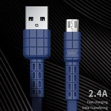 USB Remax Дата-кабель плоский металлический зарядный кабель 2.4A прочный Быстрый зарядный кабель для xiaomi samsung для iPhoneXs 6 6s 7 8 iPhone x