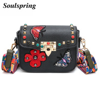 Mini Floral Flap Leather Bags Women Brand Butterfly Crossbody Bags For Woman Colorful Strap Messenger Bag