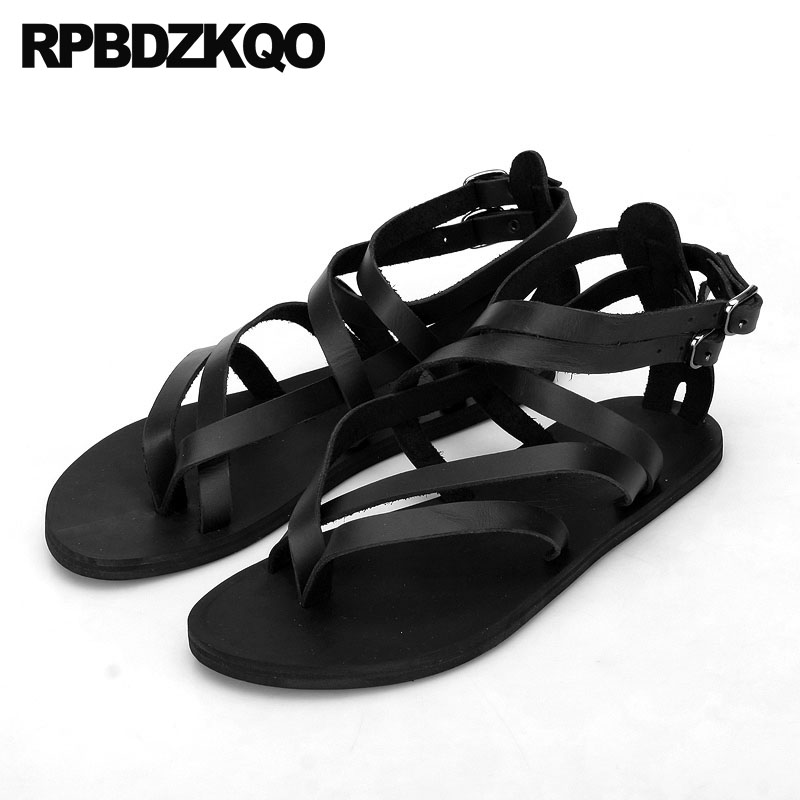 Size 45 Waterproof Shoes Plus Breathable Designer Water Roman 2018 Men Gladiator Sandals Summer Leather 46 Black Fashion Strap