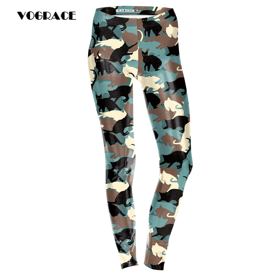 VOGRACE 2017 Brand Ladies Fashion Christmas Matching 3d Printing Striped Cat Battle Fatigues Trousers With High-Waisted Legs