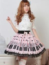 Лидер продаж сладкий Лолита юбка с Пианино ключ и Melody печати