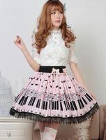 מכירת חמה המתוקה לוליטה חצאית עם מפתח פסנתר הדפסת מנגינה