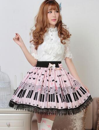 Y Caliente Clave negro Falda Melody Dulce Venta Con Beige Pianos Lolita Impresión SY6U0Ydqw