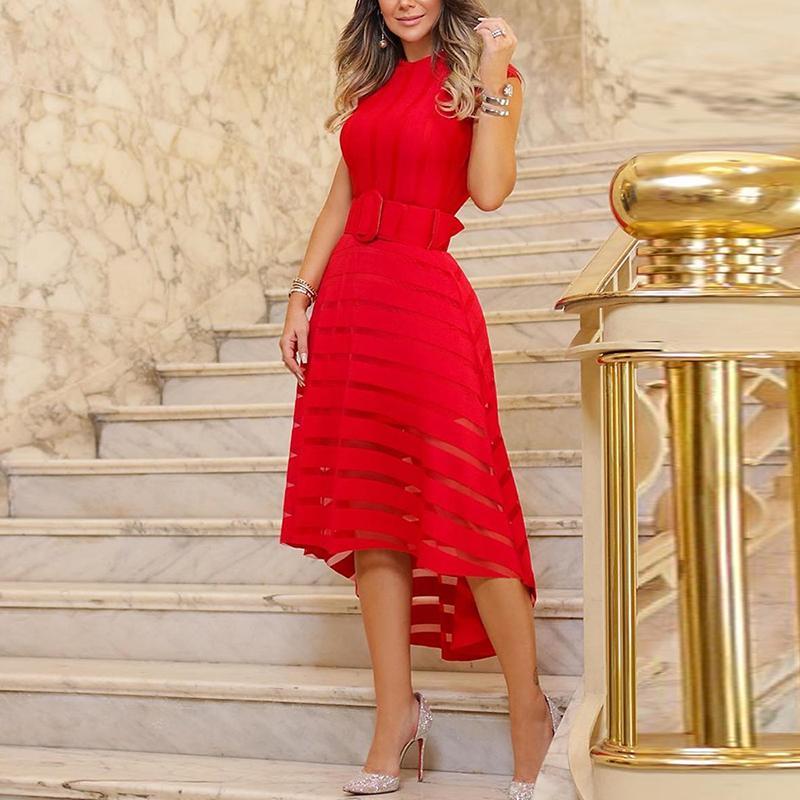 2019 Women Elegant Transparent Striped Patchwork Asymmetrical Cocktail Formal Dresses Mesh Patchwork Belted Dip Hem Party Dress in Dresses from Women 39 s Clothing