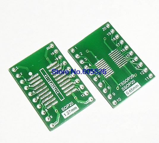20pcs/LOT  TSSOP20 SSOP20 MSOP20 SOP20 TURN DIP20 20pin IC adapter Socket / Adapter plate PCB