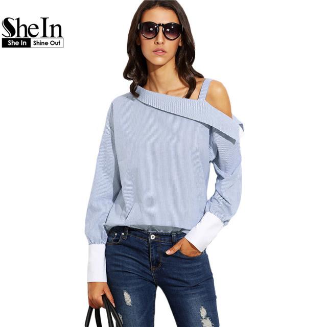 Shein partes superiores das mulheres da moda outono senhoras listrado azul dobre ombro assimétrico longo contraste manga cuff blusa