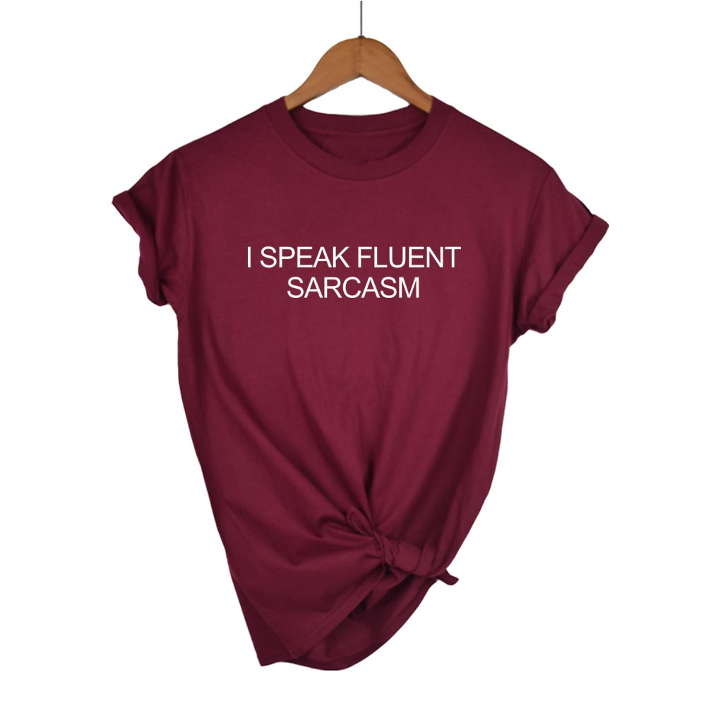 I Speak Fluent Sarcasm Crop Raglan Tee T-shirt Hipster Top Long Sleeve Grunge