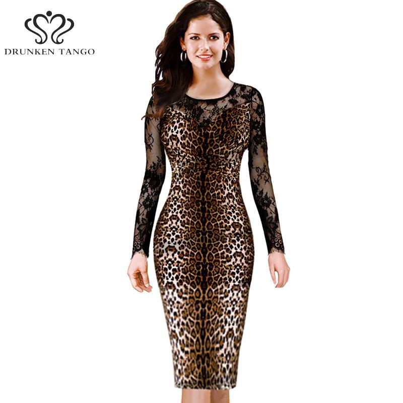 Popular Long Sleeve Leopard Print Lace Dress-Buy Cheap Long Sleeve ...