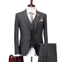 2018 Mens Vintage Suit 3 Pcs Tweed Fleck 2 Button Wool Dark Gray Custom