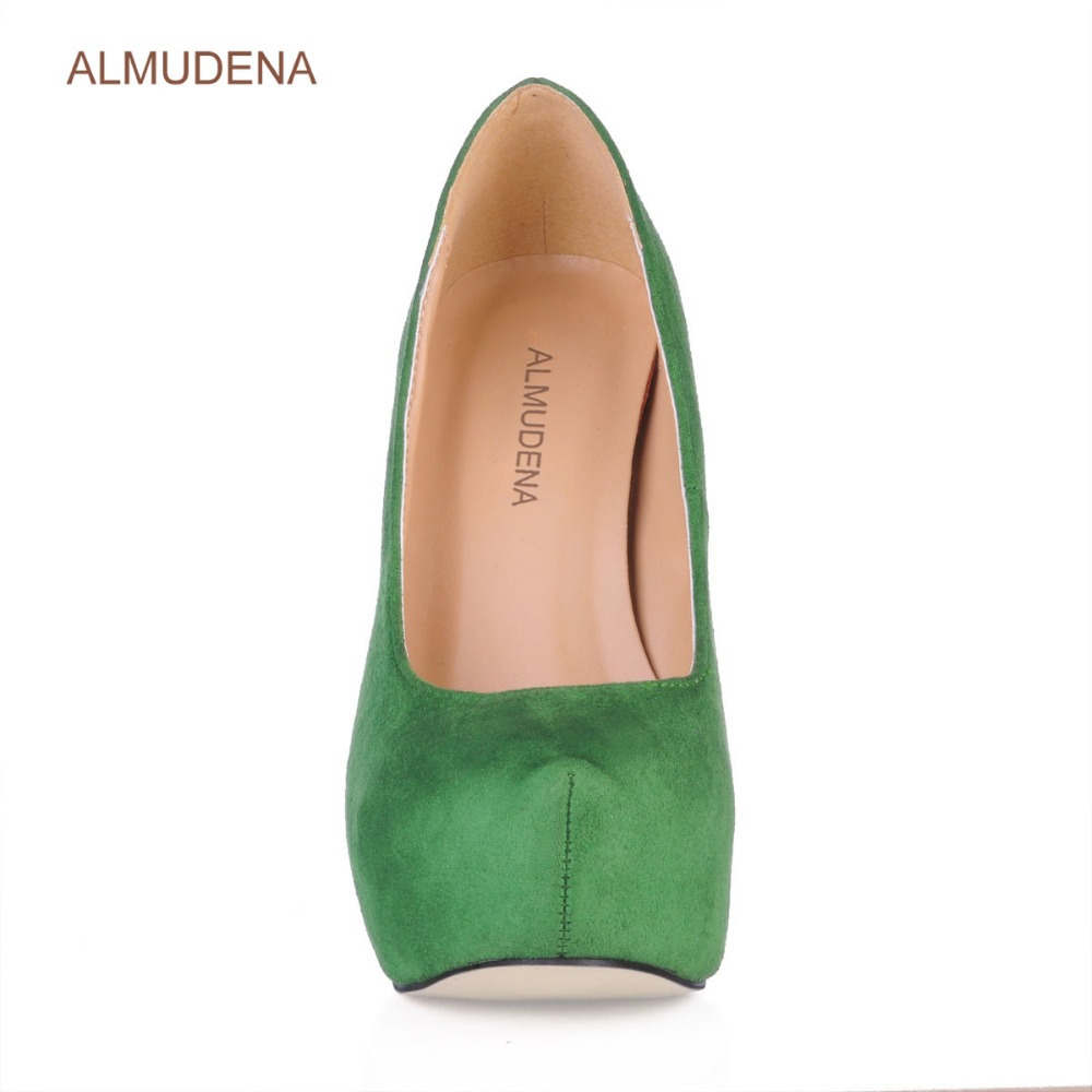 ALMUDENA New Arrival Wine Red Suede Platform Dress Pumps Thin High Heels Burgundy Blue Green Party Shoes Ultra High Heels - 5