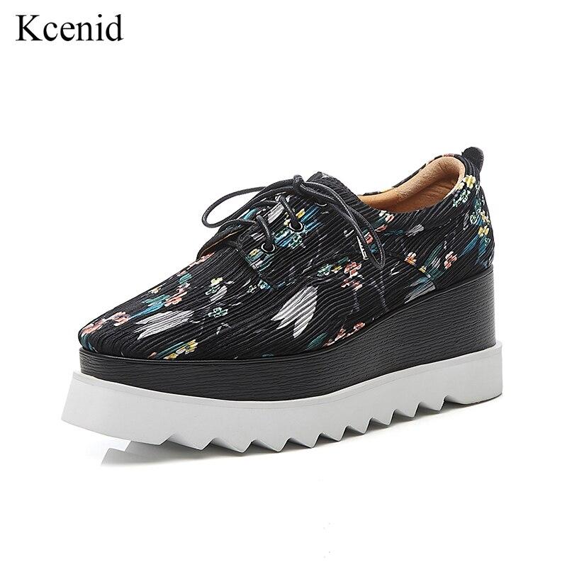 Kcenid femmes mode impression tissu à lacets plate-forme chaussures pour femme cross-attaché dames mocassins noir gris chaussures femme