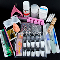 Pro Nail Art UV Gel Set acrylic powder liquid glitter nail form Nail Tips Crystal  Brush glue acrylic set Tools Kit