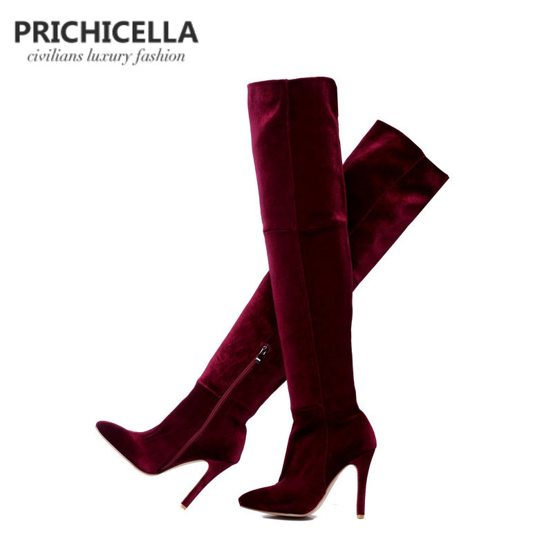 PRICHICELLA red wine thin high heel stretch thigh high boots sexy elastic slim long booties