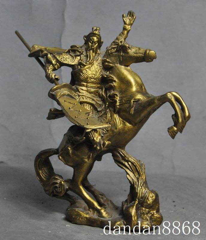 Christmas Chinese Brass Copper guangong guanyu Warrior Generals Heroes Ride Horse Statue Halloween