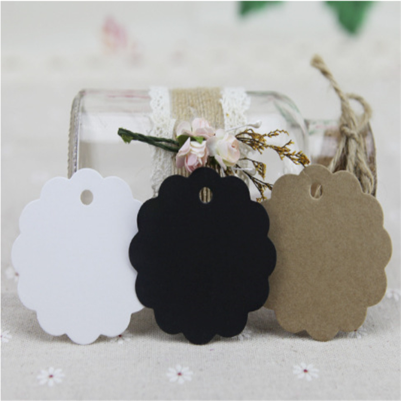 50Pcs White Black Brown Creative Kraft Paper Label Christmas Halloween Wedding Party Favor Price Gift Card Luggage Tag Bookmark
