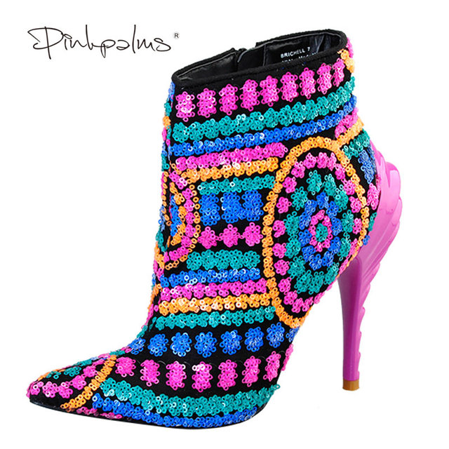 Women New Ankle Sequined BootsPink Palms Multi Cloth Bling Paillette High Heels Rubber Boots For Ladies