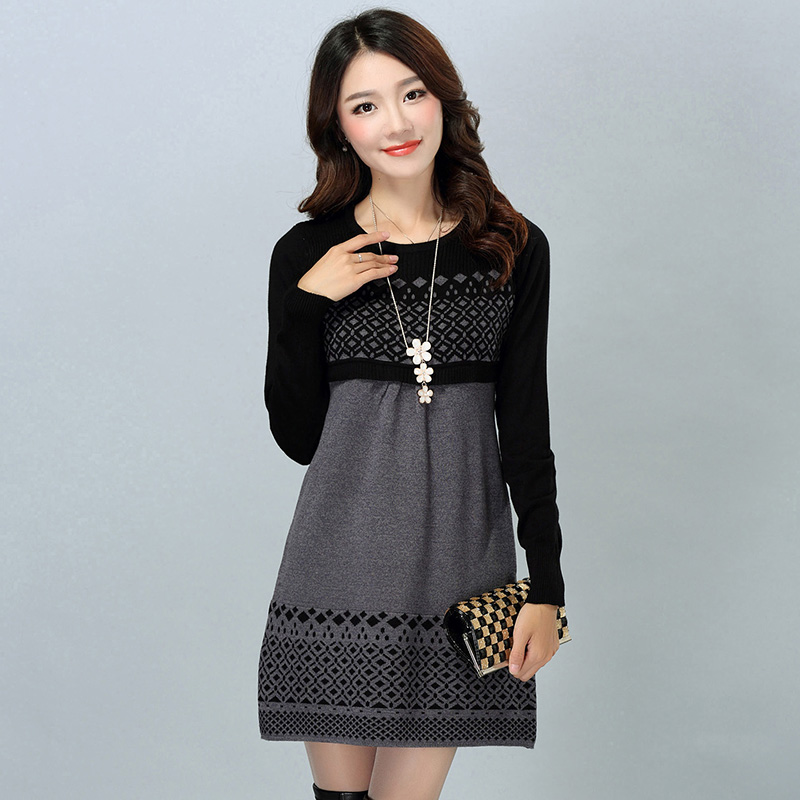 Women Autumn Winter Woman Sweater Dress 2017 Cotton Knitted Long Sleeve Casual Warm Plus Size Female