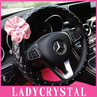 Ladycrystal Diamond Car Steering Wheel Cover Pink Flowers Steering Wheel Covers Auto Car Styling Interior Decoration Accessories