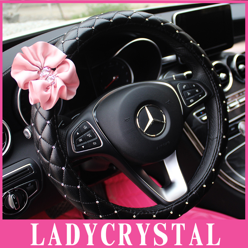 Ladycrystal Diamond Car Steering Wheel Cover Pink Flowers Covers Auto Styling Interior Decoration