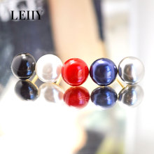 LEIIY 1 Pc Elegant Design 5 Colors Cute Simulated-Pearl Brooches For Women Gold-color Simple Lapel Pin Badge Fashion Jewelry