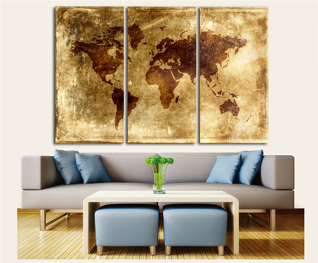 Vintage Canvas Wall Art 3 Pieces Canvas Oil Painting Retro World Map