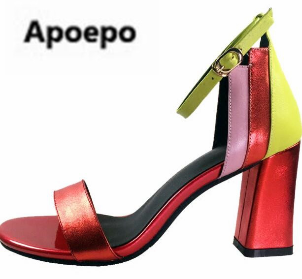 Apoepo sandales femme 2018 mixed colors square heels high heels sandals women peep toe women shoes gladiator ladies sandals replikey suzuki grand vitara rk yh5007 7x17 5x114 3 d60 1 et40 dbf