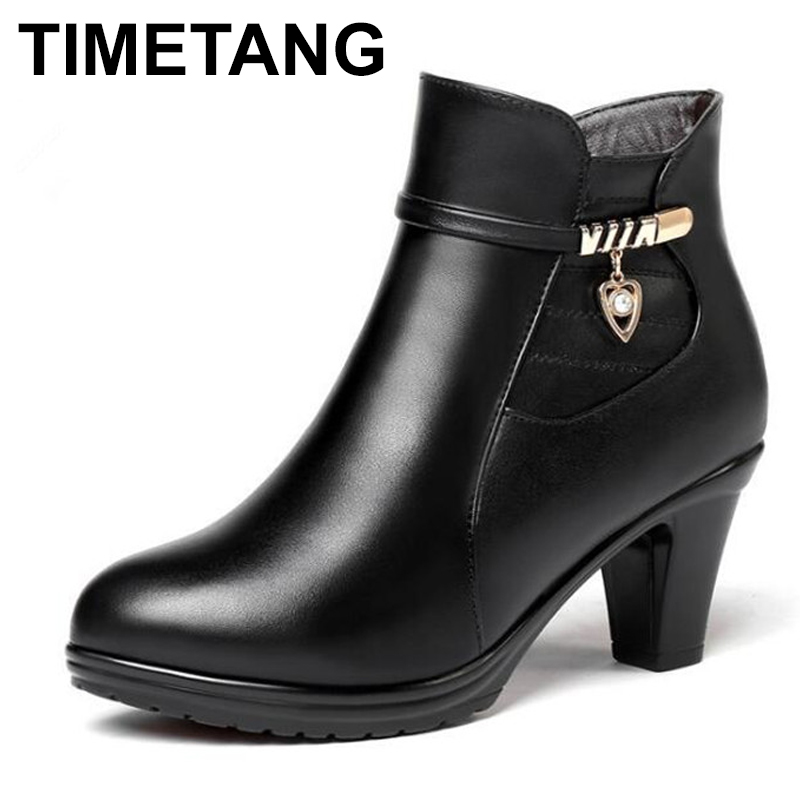 TIMETANG 2018 New Elegant Fashion Winter Boots Plus Velvet and Wool Boots Women Shoes Warm Thick
